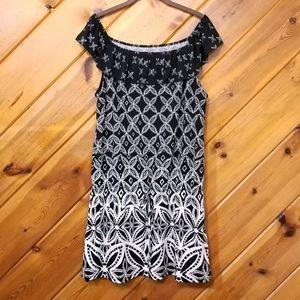 Off Shoulder Black White Floral Dress WHBM Large